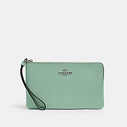 LARGE CORNER ZIP WRISTLET - SV/WASHED GREEN - COACH 3888