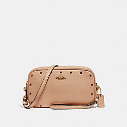 SADIE CROSSBODY CLUTCH WITH CRYSTAL RIVETS - B4/NUDE PINK - COACH 38931