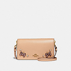 SLIM PHONE CROSSBODY WITH CRYSTAL APPLIQUE - NUDE PINK/BRASS - COACH 38932