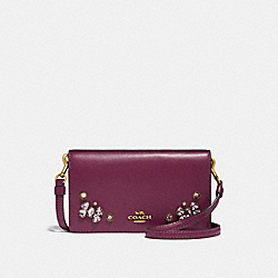 SLIM PHONE CROSSBODY WITH CRYSTAL APPLIQUE - DARK BERRY/BRASS - COACH 38932