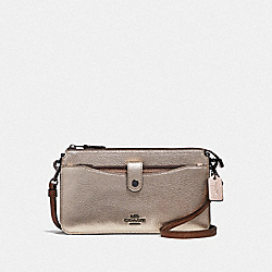NOA POP-UP MESSENGER IN COLORBLOCK - PLATINUM MULTI/GUNMETAL - COACH 38935