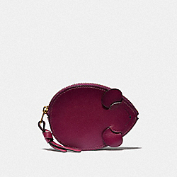MOUSE COIN CASE - DARK BERRY/BRASS - COACH 38942