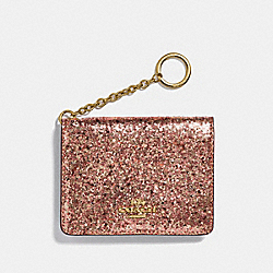 KEY RING CARD CASE - METALLIC ROSEGOLD/GOLD - COACH 38945