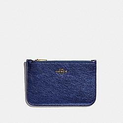 ZIP CARD CASE - GD/METALLIC BLUE - COACH 39243