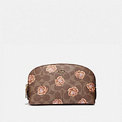 COSMETIC CASE 17 IN SIGNATURE ROSE PRINT - TAN/BRASS - COACH 39244