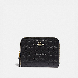 SMALL ZIP AROUND WALLET IN SIGNATURE LEATHER - GD/BLACK - COACH 39254