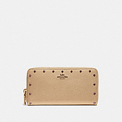 ACCORDION ZIP WALLET WITH CRYSTAL RIVETS - B4/NUDE PINK - COACH 39260