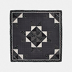 SIGNATURE PATCHWORK OVERSIZED SQUARE SCARF - BLACK - COACH 39287