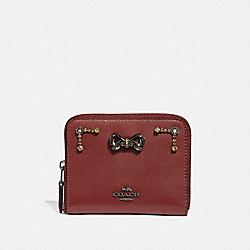 SELENA SMALL ZIP AROUND WALLET WITH CRYSTAL EMBELLISHMENT - WINE/GUNMETAL - COACH 39318