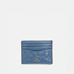 CARD CASE IN SIGNATURE LEATHER - GOLD/STONE BLUE - COACH 39420