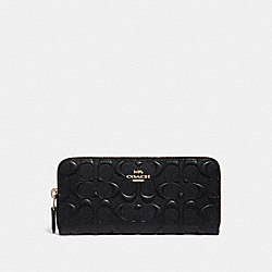 SLIM ACCORDION ZIP WALLET IN SIGNATURE LEATHER - GD/BLACK - COACH 39631