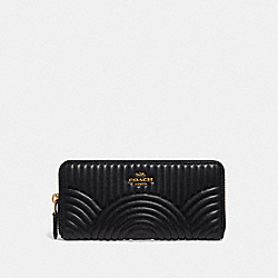 SLIM ACCORDION ZIP WALLET WITH QUILTING - B4/BLACK - COACH 39634