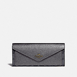 SOFT WALLET IN COLORBLOCK SIGNATURE CANVAS - B4/CHARCOAL METALLIC GRAPHITE - COACH 40040