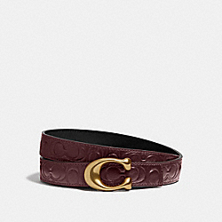 SCULPTED SIGNATURE REVERSIBLE BELT IN SIGNATURE LEATHER - B4/WINE BLACK - COACH 40118