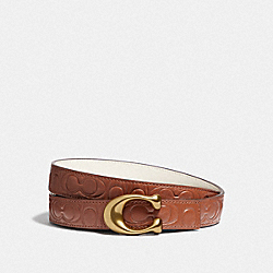 SCULPTED SIGNATURE REVERSIBLE BELT IN SIGNATURE LEATHER - B4/1941 SADDLE CHALK - COACH 40118