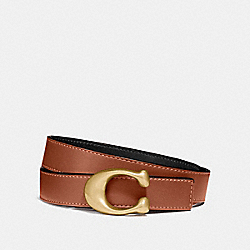 SCULPTED SIGNATURE REVERSIBLE BELT - B4/BLACK 1941 SADDLE - COACH 40119