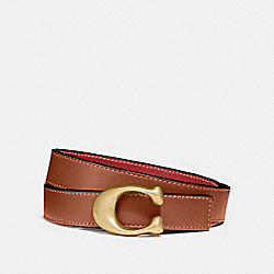 SCULPTED SIGNATURE REVERSIBLE BELT - B4/1941 SADDLE 1941 RED - COACH 40119
