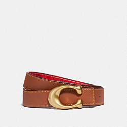 SCULPTED SIGNATURE REVERSIBLE BELT - B4/1941 SADDLE 1941 RED - COACH 40122