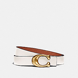 SCULPTED SIGNATURE REVERSIBLE BELT - B4/CHALK 1941 SADDLE - COACH 40122