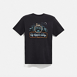 SKYLINE BIG APPLE CAMP T-SHIRT - BLACK - COACH 4018