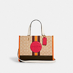 DEMPSEY CARRYALL IN SIGNATURE JACQUARD WITH STRIPE AND COACH PATCH - IM/LT KHAKI ELECTRIC PINK - COACH 4113