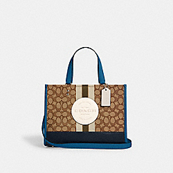 DEMPSEY CARRYALL IN SIGNATURE JACQUARD WITH STRIPE AND COACH PATCH - SV/KHAKI CLK PALE GREEN MULTI - COACH 4113