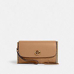 CHAIN CROSSBODY IN SIGNATURE LEATHER - IM/TAUPE - COACH 4126