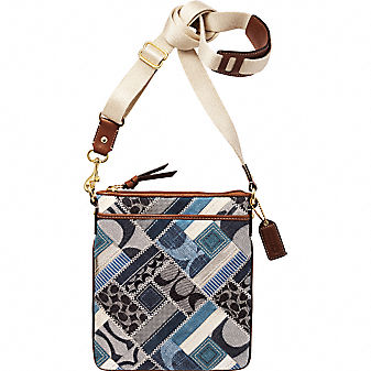 Coach Official Site - COACH SIGNATURE PATCHWORK DENIM SWINGPACK from coach.com
