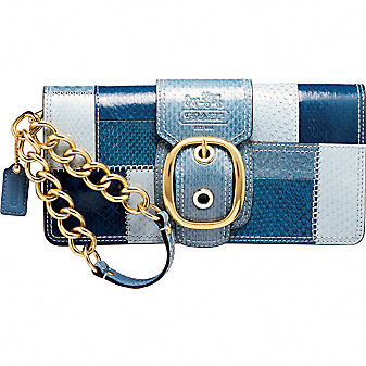 Coach BLEECKER PATCHWORK SNAKESKIN CLUTCH :  blue handbag womens brass