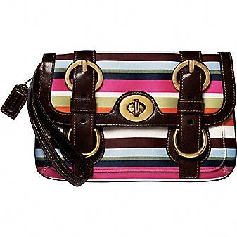 Coach Official Site - COACH LEGACY STRIPE WRISTLET from coach.com