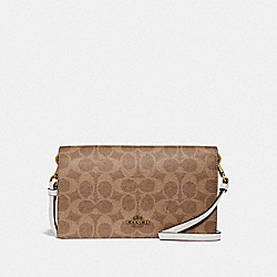 HAYDEN FOLDOVER CROSSBODY CLUTCH IN COLORBLOCK SIGNATURE CANVAS - B4/TAN CHALK - COACH 41920