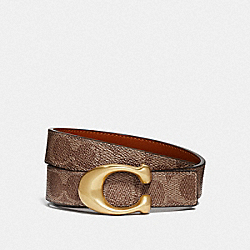SCULPTED SIGNATURE REVERSIBLE BELT IN SIGNATURE CANVAS - B4/TAN RUST - COACH 42107