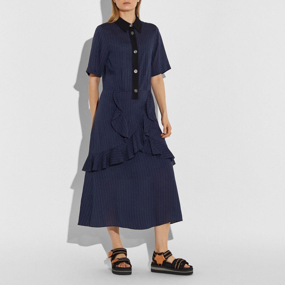 스트라이프드 롱 러플 셔츠 드레스