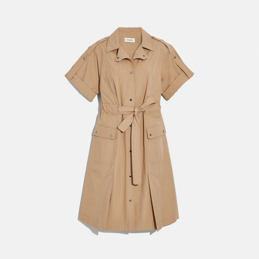 코튼 타이 웨이스트 셔츠 드레스