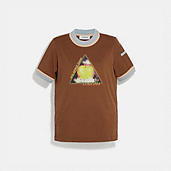 BIG APPLE CAMP CONTRAST BINDING T-SHIRT - VINTAGE BROWN - COACH 4232