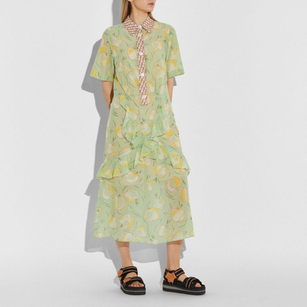 모던 애플 프린트 롱 러플 셔츠 드레스