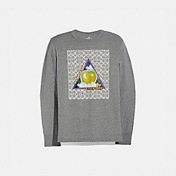 SIGNATURE BIG APPLE CAMP LONG SLEEVE T-SHIRT - HEATHER GREY - COACH 4395