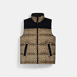 SIGNATURE DOWN VEST - KHAKI SIGNATURE - COACH 4410