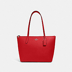 ZIP TOP TOTE - QB/MIAMI RED - COACH 4454
