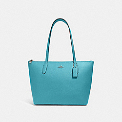 ZIP TOP TOTE - SV/AQUA - COACH 4454