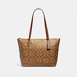 ZIP TOP TOTE IN SIGNATURE CANVAS - IM/KHAKI SADDLE 2 - COACH 4455