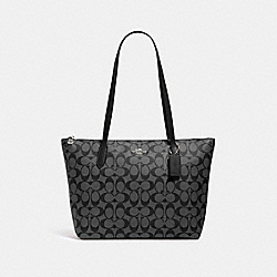 ZIP TOP TOTE IN SIGNATURE CANVAS - SV/BLACK SMOKE BLACK - COACH 4455