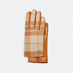 HORSE AND CARRIAGE PLAQUE LEATHER TECH GLOVES WITH WINDOWPANE PLAID PRINT - TAN/ORANGE - COACH 4543