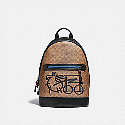 BARROW BACKPACK IN SIGNATURE CANVAS WITH ABSTRACT HORSE AND CARRIAGE - JI/KHAKI MULTI - COACH 4586