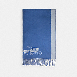 HORSE AND CARRIAGE DOUBLE FACE OVERSIZED MUFFLER - LIGHT GREY/PERIWINKLE - COACH 4622