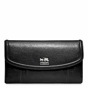 Coach - Madison Leather Checkbook Wallet Sv/black