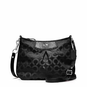 Coach - Madison Op Art Sateen Fashion Swingpack Sv/black/black Lizard