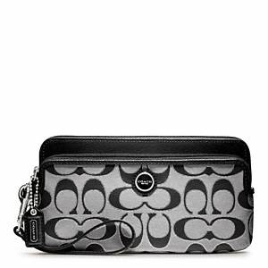 Coach - Poppy Sig Sateen Mtl Double Zip Wallet Sv/moonlight