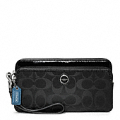 POPPY SIGNATURE SATEEN DOUBLE ZIP WALLET