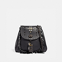 FRINGE SADDLE BAG WITH PYRAMID RIVETS - BLACK/PEWTER - COACH 48617